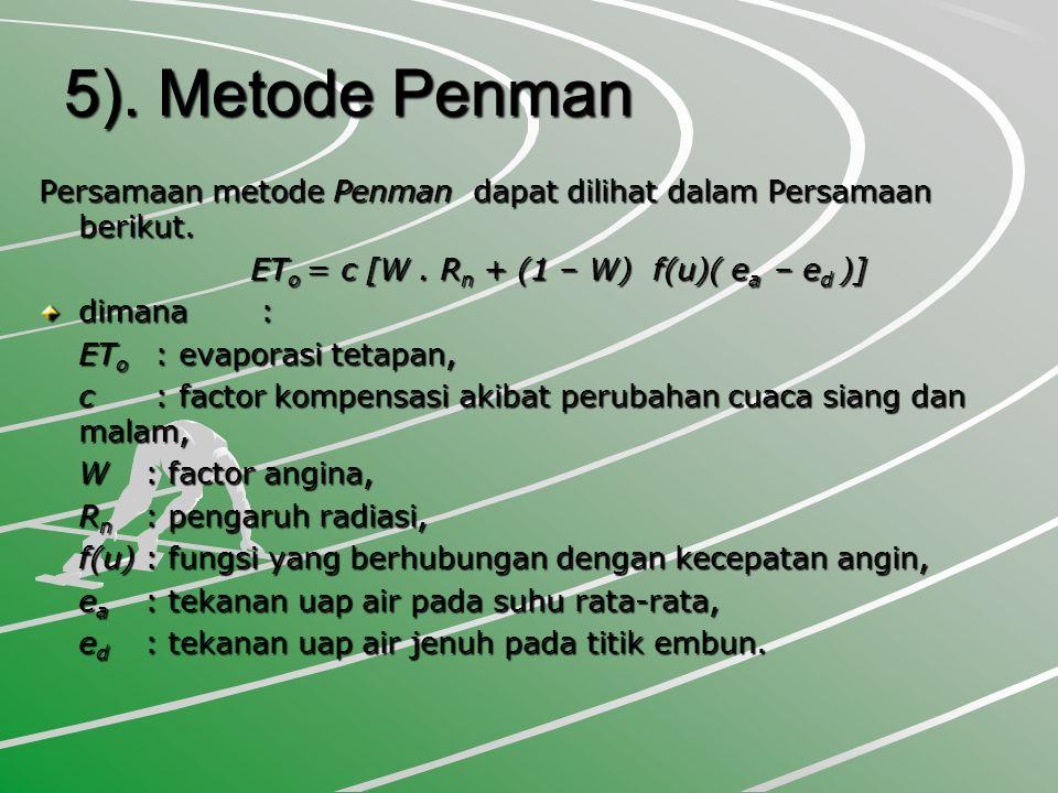 5). Metode Penman Persamaan metode Penman dapat dilihat dalam Persamaan berikut. ETo = c [W . Rn + (1 – W) f(u)( ea – ed )]